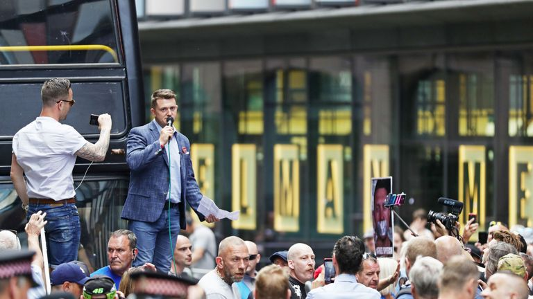 Tommy Robinson outside the Old Bailey in London after being found in contempt of court by High Court judges for filming defendants in a criminal trial and broadcasting the footage on social media. PRESS ASSOCIATION Photo. Picture date: Friday July 5, 2019. See PA story COURTS Robinson. Photo credit should read: Aaron Chown/PA Wire
