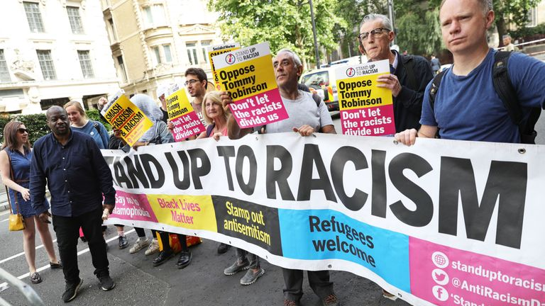 Stand Up To Racism demonstrators outside the Old Bailey in London