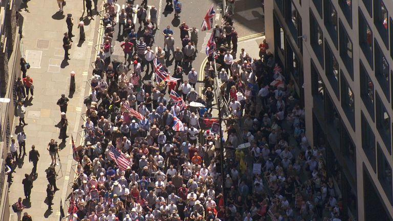 Tommy Robinson supporters outside the Old Bailey