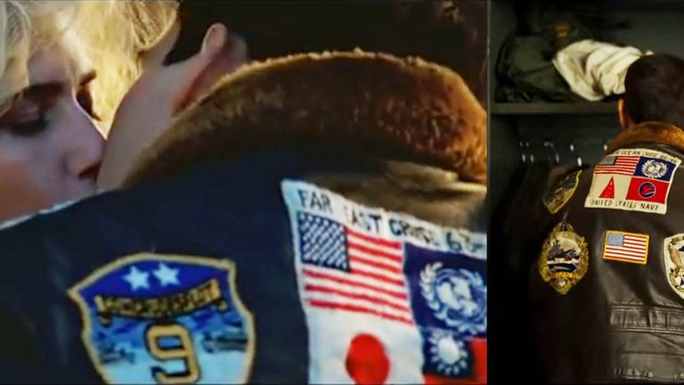 Still comparing jacket in the original Top Gun (left) to trailer for sequel - flags have changed