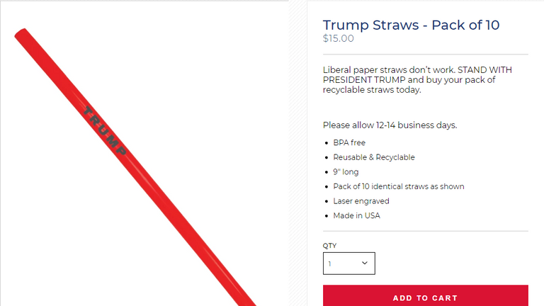 Mr Trump's straws have made his re-election campaign almost $500,000 (£411,000) in less than two weeks.