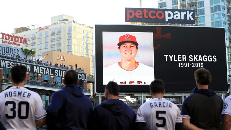 The San Diego Padres observed a minute's silence at Petco Park for Tyler Skaggs