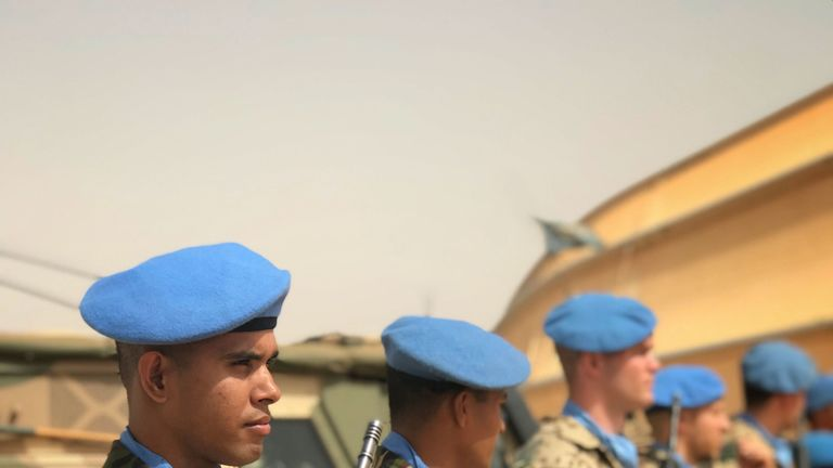 UN peacekeeping soldiers on parade