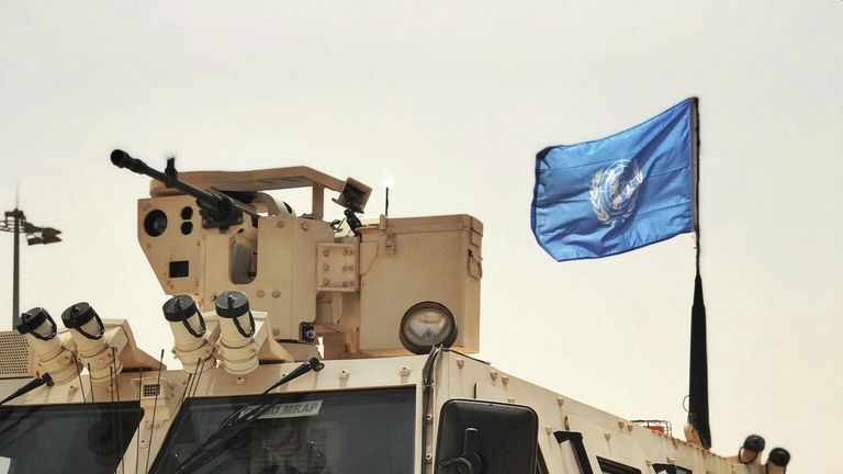 A UN armoured vehicle