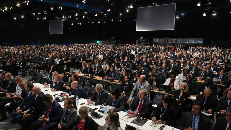 Delegates attend the opening ceremony of the COP24 United Nations climate change conference in December 2018