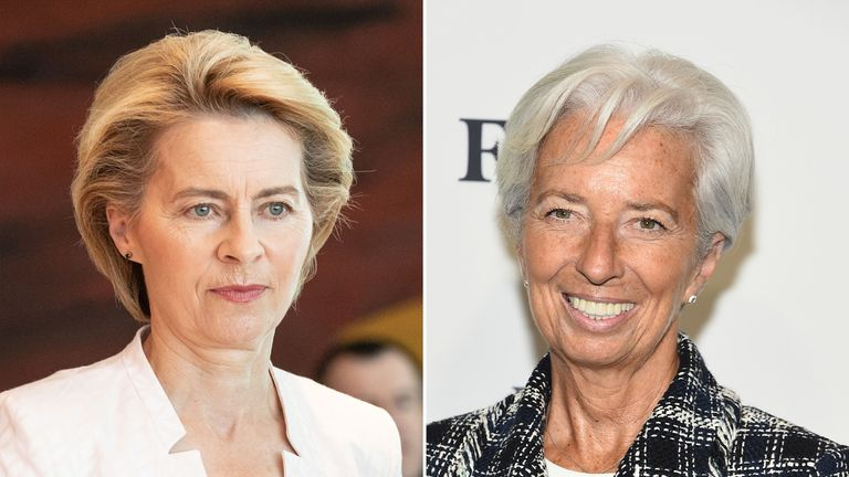 Ursula von der Leyen (L) and Christine Lagarde have been put forward for two top EU jobs