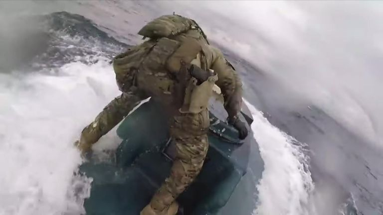 The US Coast Guard Cutter Munro intercepted several suspected drug-smuggling vessels, including a semi-submersible vessel