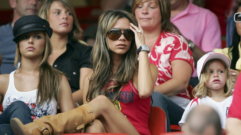 Singer Cheryl Tweedy then girlfriend of Ashley Cole, Victoria Beckham the wife of England Captain David Beckham, and their son, Romeo attend the FIFA World Cup Germany 2006 Group B match between England and Trinidad and Tobago on June 15, 2006 in Nuremberg, Germany