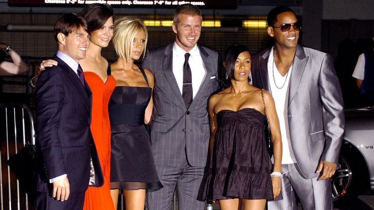 "Tom Cruise, Katie Holmes, Victoria Beckham, David Beckham, Jada Pinkett Smith and actor Will Smith arrive at the ""Beckham Welcome To LA Party"" at the Museum of Contemporary Art on July 22, 2007 in Los Angeles, California"