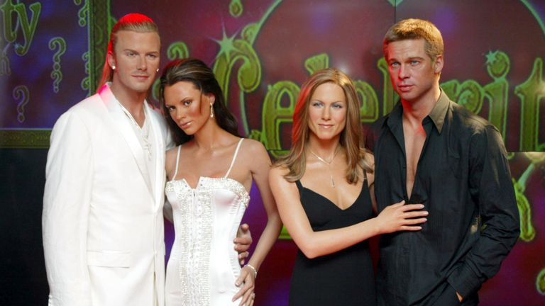 "Interactive ""Celebrity Love Match Quiz"" at Madame Tussauds: David Beckham and Victoria Beckham waxwork models with Jennifer Aniston and Brad Pitt waxwork models featuring new squeezable bottoms and stroke-able silicone chest"