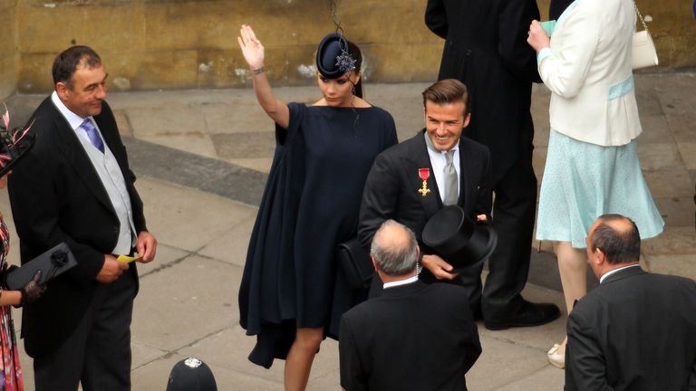Victoria and David Beckham at the royal wedding of Prince William to Kate Middleton at Westminster Abbey on April 29 2011