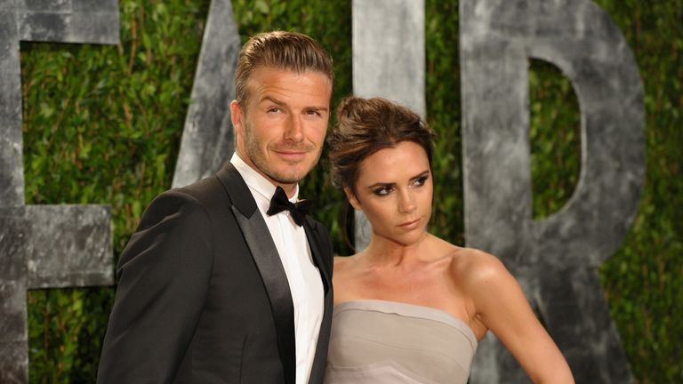 Victoria and David Beckham at the 2012 Vanity Fair Oscar Party hosted by Graydon Carter at Sunset Tower on February 26, 2012 in West Hollywood, California