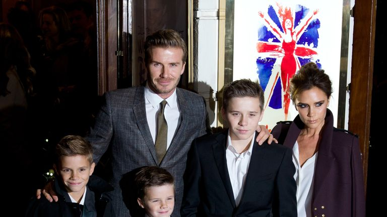 "Romeo Beckham, Cruz Beckham, David Beckham, Brooklyn Beckham and Victoria Beckham attend the ""Viva Forever"" press night at The Piccadilly Theatre on December 11, 2012"