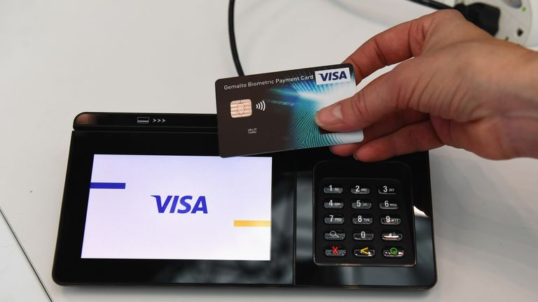NEW YORK, NY - JANUARY 16: Visa showcases a contactless card authenticated through biometrics at the Visa Innovation Lab at the National Retail Federation's Big Show on January 16, 2018 in New York City. (Photo by Dave Kotinsky/Getty Images for Visa)