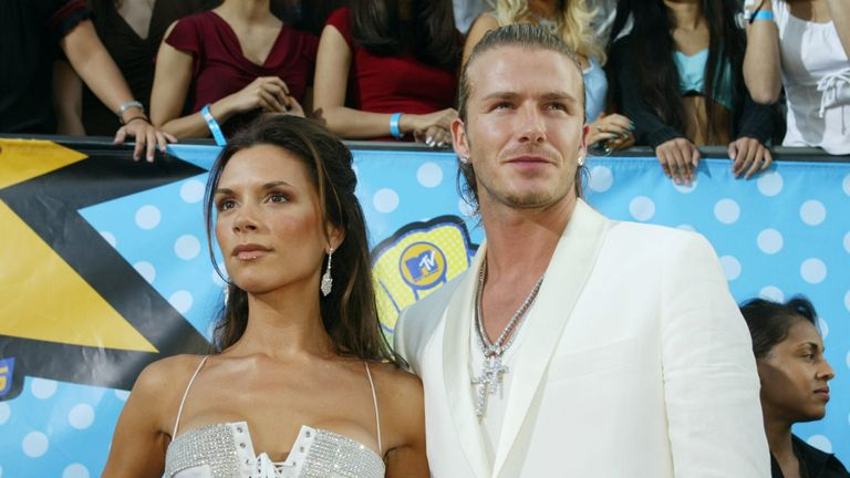 Victoria and David Beckham attend The 2003 MTV Movie Awards held at the Shrine Auditorium on May 31, 2003 in Los Angeles, California