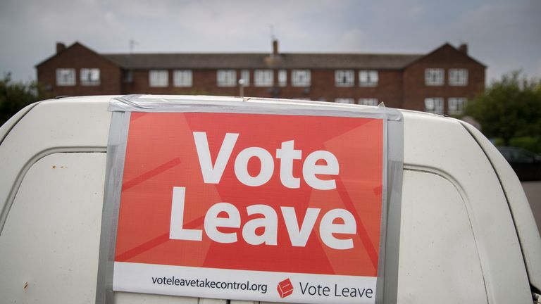 STONEHOUSE, ENGLAND - JUNE 08:  A Vote Leave poster is attached to a Ford Escort van as Vote Leave supporters campaign on a residential housing estate in Stonehouse on June 8, 2016 in Gloucestershire, England. Britain will go to the polls in a referendum on the 23rd of June to decide whether or not to leave the European Union.  (Photo by Matt Cardy/Getty Images)