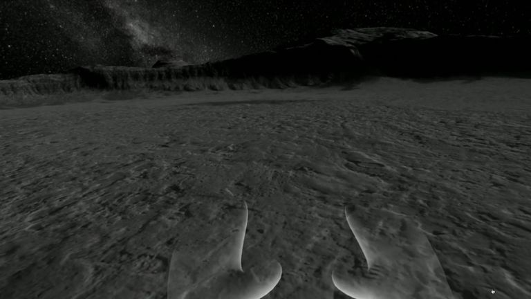 A virtual reality experience lets users experience landing on the moon