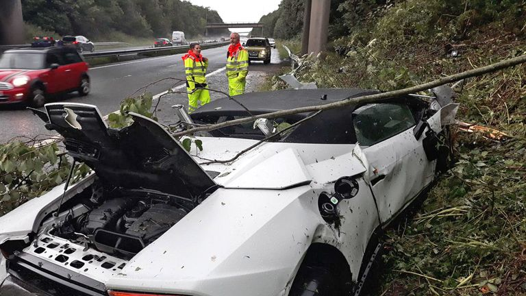 The driver of this Lamborghini lost control on standing water on the M66 near to junction 1 and took out a section of barrier