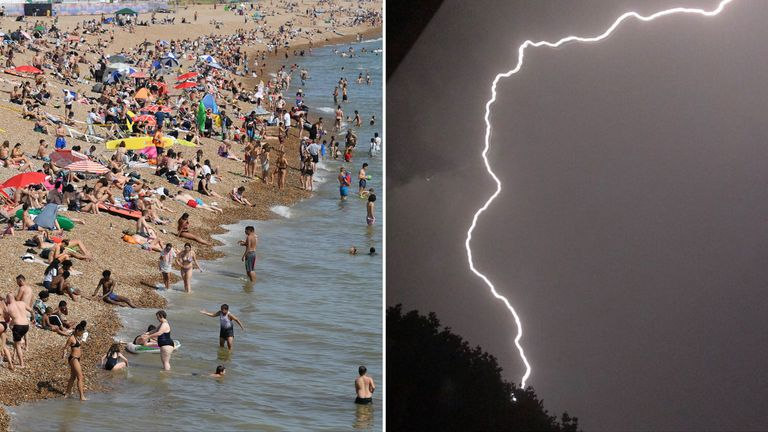 Beachgoers enjoyed the sun in Brighton before lightning struck Ealing in London. Pic: Dom Gaynor/Twitter