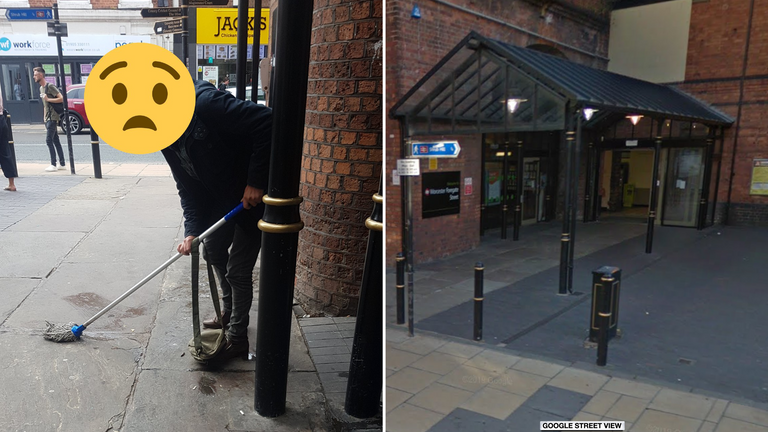 A man was asked to mop up his own mess at the railway station in Worcester