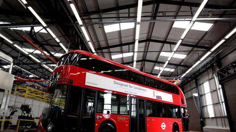 The first working prototype of The New Bus For London is unveiled at Wrightbus factory in Ballymena, County Antrim.November 4, 2011.