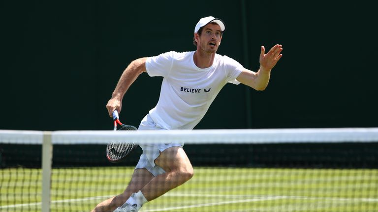 Andy Murray training on court at Wimbledon