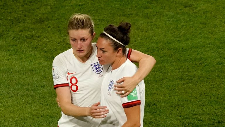Ellen White and Jodie Taylor distraught after their World Cup defeat