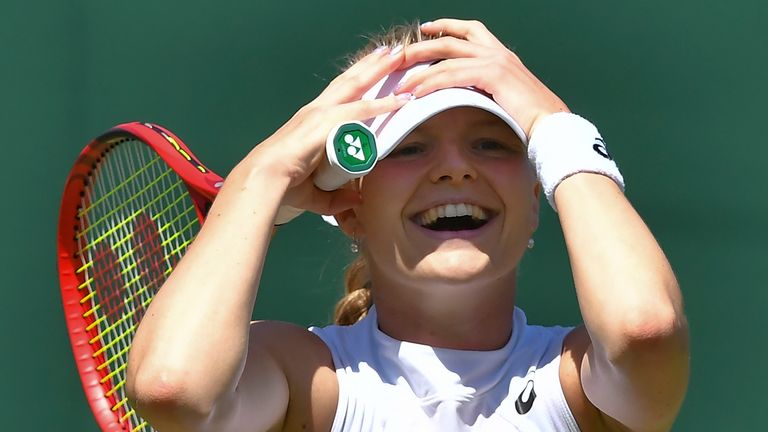 Harriet Dart celebrates beating Brazil's Beatriz Haddad Maia after their women's singles second round match on the fourth day of the 2019 Wimbledon Championships at The All England Lawn Tennis Club in Wimbledon, southwest London, on July 4, 2019.