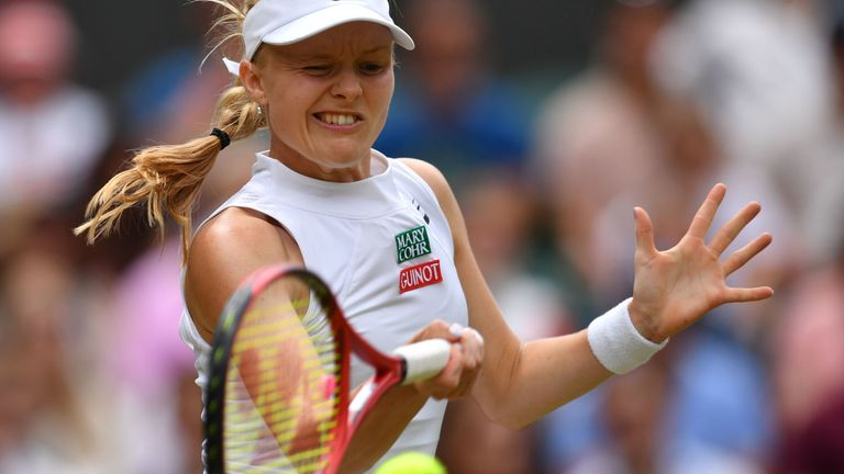 Britain's Harriet Dart returns against Australia's Ashleigh Barty during their women's singles third round match on the sixth day of the 2019 Wimbledon Championships at The All England Lawn Tennis Club in Wimbledon, southwest London, on July 6, 2019.