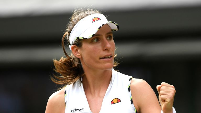 Johanna Konta of Great Britain reacts in her Ladies' Singles first round match against Ana Bogdan of Romania during Day two of The Championships - Wimbledon 2019 at All England Lawn Tennis and Croquet Club on July 02, 2019 in London, England.