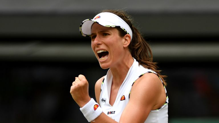 Johanna Konta of Great Britain celebrates winning the second set in her Ladies' Singles third round match against Sloane Stephens of The United States during Day six of The Championships - Wimbledon 2019 at All England Lawn Tennis and Croquet Club on July 06, 2019 in London, England.