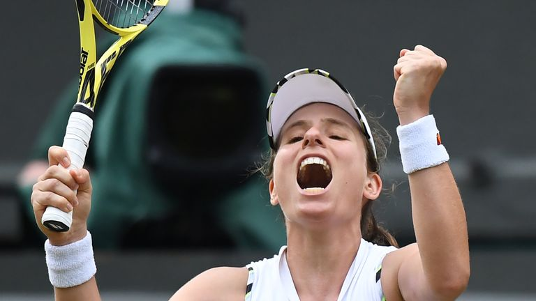 Britain's Johanna Konta celebrates after beating Czech Republic's Petra Kvitova during their women's singles fourth round match on the seventh day of the 2019 Wimbledon Championships at The All England Lawn Tennis Club in Wimbledon, southwest London, on July 8, 2019