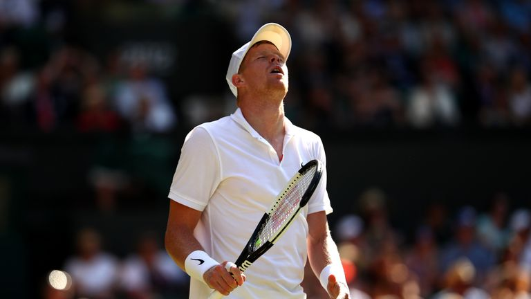 Kyle Edmund of Great Britain reacts in his Men's Singles second round match against Fernando Verdasco of Spain during Day three of The Championships - Wimbledon 2019 at All England Lawn Tennis and Croquet Club on July 03, 2019 in London, England.
