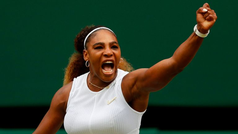 Serena Williams celebrates winning the first set against US player Alison Riske during their women's singles quarter-final match on day eight of the 2019 Wimbledon Championships at The All England Lawn Tennis Club in Wimbledon, southwest London, on July 9, 2019