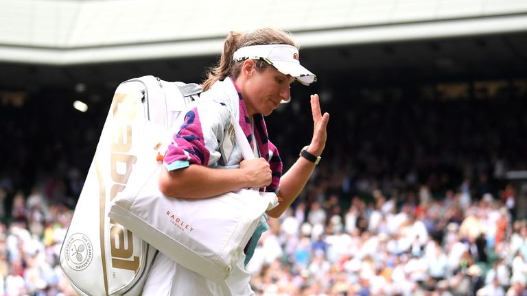 Johanna Konta acknowledging the crowds' support for her when leaving Centre Court after her loss