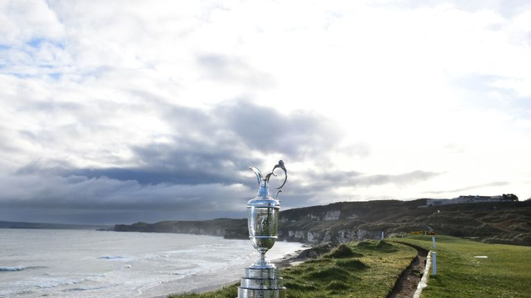 The Claret Jug is pictured at Royal Portrush Golf Club