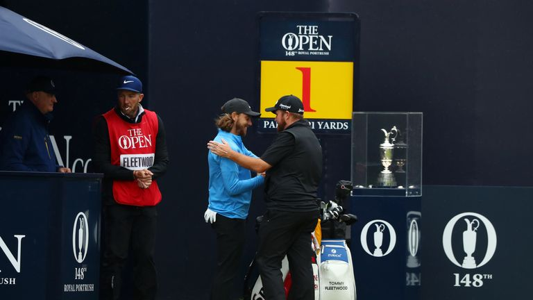 Tommy Fleetwood and Shane Lowry during the final round of The Open