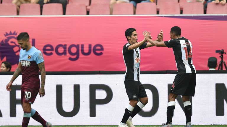Highlights of the  Premier League Asia Trophy match between Newcastle and West Ham