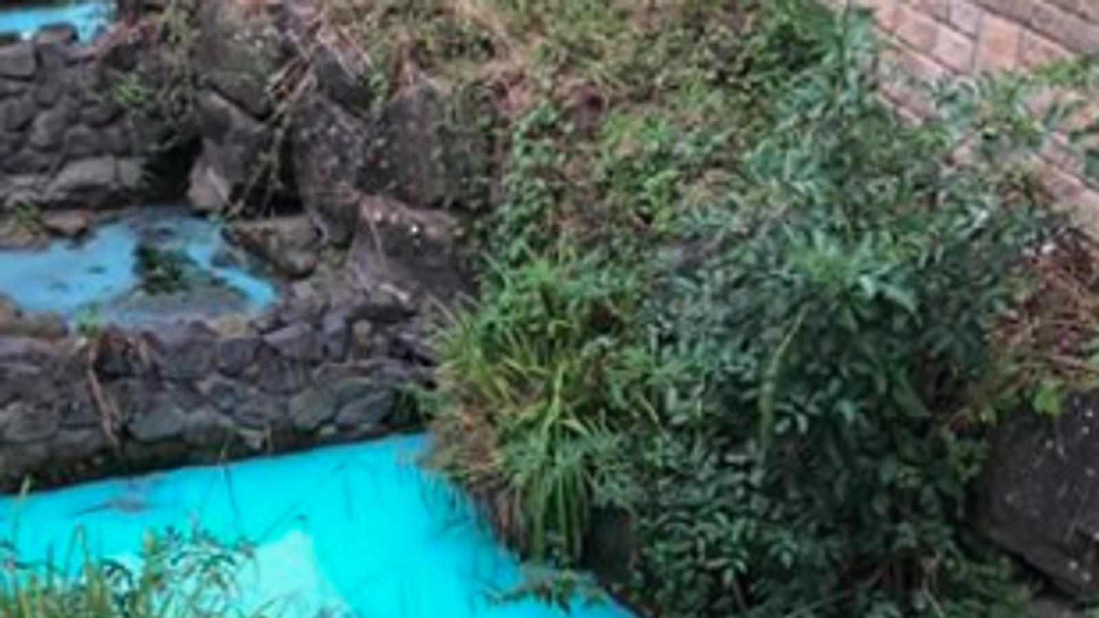 Mystery substance turns river tributary bright blue