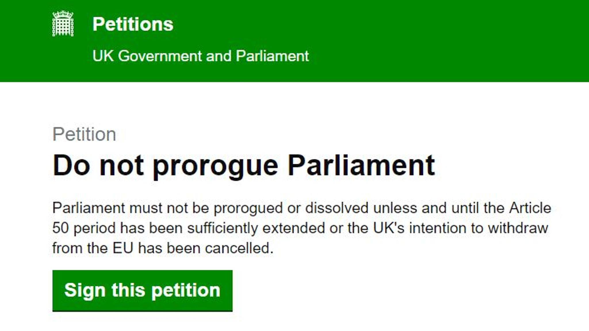 More than one million sign petition against Johnson's suspension of parliament