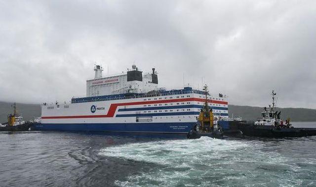 Russia's floating nuclear power station Akademik Lomonosov sets sail across Arctic