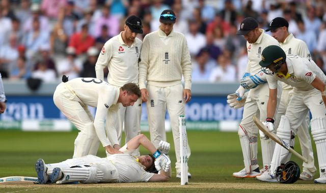 The Ashes: Steve Smith forced off field after being struck by 92mph delivery