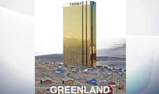 Donald Trump tweets picture of Trump Tower looming over Greenland