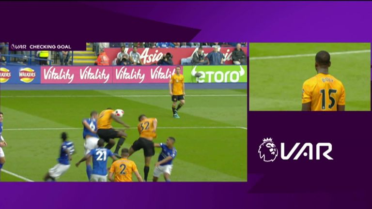 Wolves were denied a goal after the VAR implemented a new law - accidental handball that leads to a goal means the goal must be ruled out