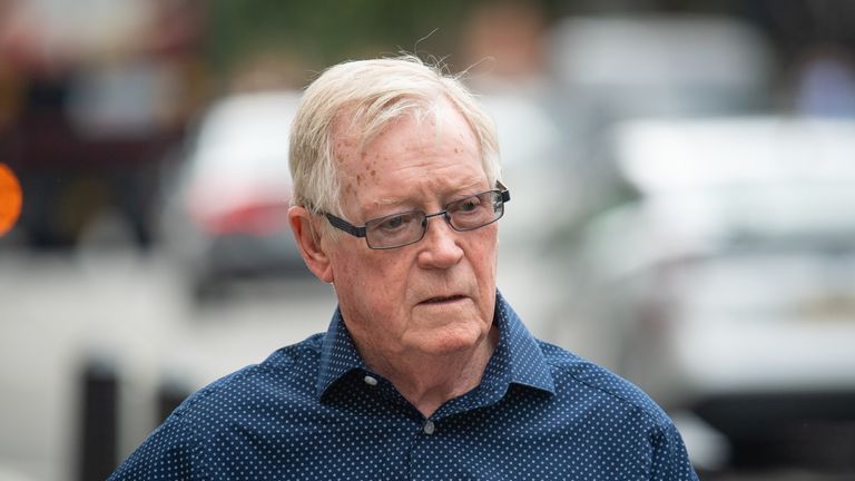 """John """"Kenny"""" Collins, ringleader of the Hatton Garden heist, arrives at Westminster Magistrates' Court, London, where he is set to hear if he will be sent back to jail for failing to pay back millions of pounds stolen in the raid."""