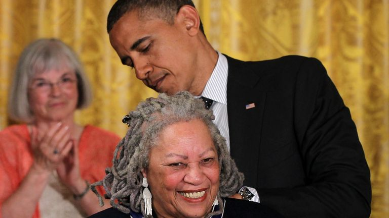 WASHINGTON, DC - MAY 29:  Novelist Toni Morrison is presented with a Presidential Medal of Freedom by U.S. President Barack Obama during an East Room event May 29, 2012 at the White House in Washington, DC.  The Medal of Freedom, the nation's highest civilian honor, is presented to individuals who have made especially meritorious contributions to the security or national interests of the United States, to world peace, or to cultural or other significant public or private endeavors.  (Photo by Alex Wong/Getty Images)