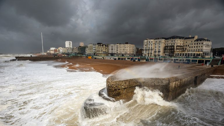 BRIGHTON, ENGLAND - AUGUST 10 Strong winds and rough seas at Brighton seafront on August 10, 2019 in Brighton, England. The UK is experiencing thunderstorms and strong winds causing travel disruption across the nation. (Photo by Andrew Hasson/Getty Images)