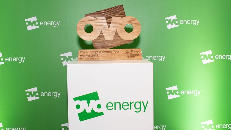 LONDON, ENGLAND - JUNE 04:  Signage during the OVO Energy Ride Summit and Night Ride on June 04, 2019 in London, England.  OVO Energy launched a series of Night Ride events designed to inspire greater cycling participation from women. OVO's first event took place in London with a peloton of riders on bikes illuminated with green LED lights taking in a route past the capital's most famous landmarks. (Photo by Jeremy O'Donnell/Getty Images for OVO Energy)