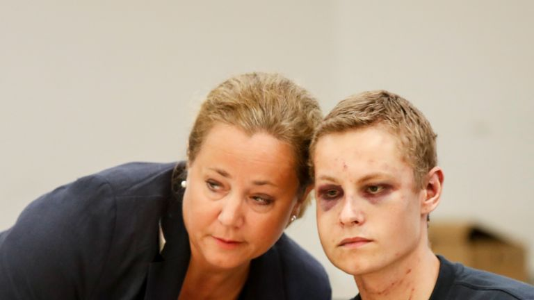 "Terror charged Philip Manshaus and his lawyer Unni Fries attend a hearing at an Oslo courthouse on August 12, 2019 in Norway. - Norwegian 21-year old Philip Manshaus, is formally suspected of murder in the death of his 17-year-old stepsister, and of a ""terrorist act"" at the Al-Noor mosque on August 10, 2019, police said in a statement. (Photo by Vidar Ruud / NTB Scanpix / AFP) / Norway OUT        (Photo credit should read VIDAR RUUD/AFP/Getty Images)"