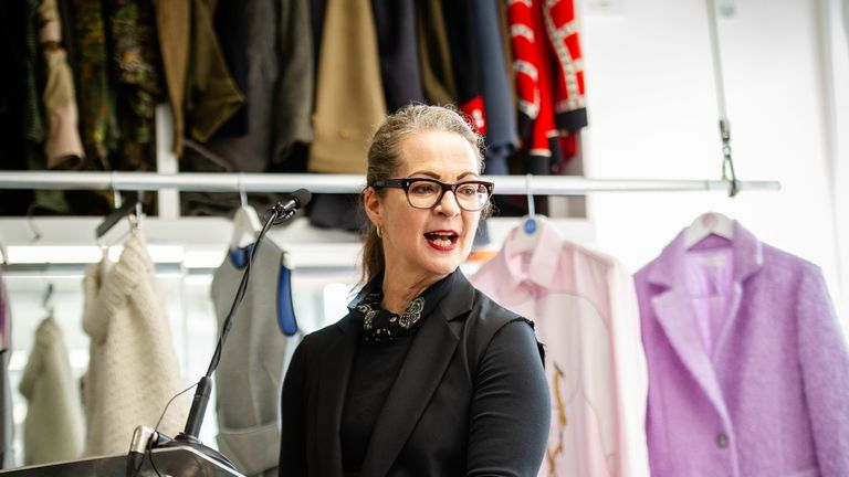 EDITORIAL USE ONLY Professor Frances Corner, OBE, Head of London College of Fashion, UAL, speaks at the launch of the Fashion District, which is a new hub for fashion innovation that aims to return world-leading fashion manufacturing and design to the east end, held at Christopher RaeburnÕs studio in London.
